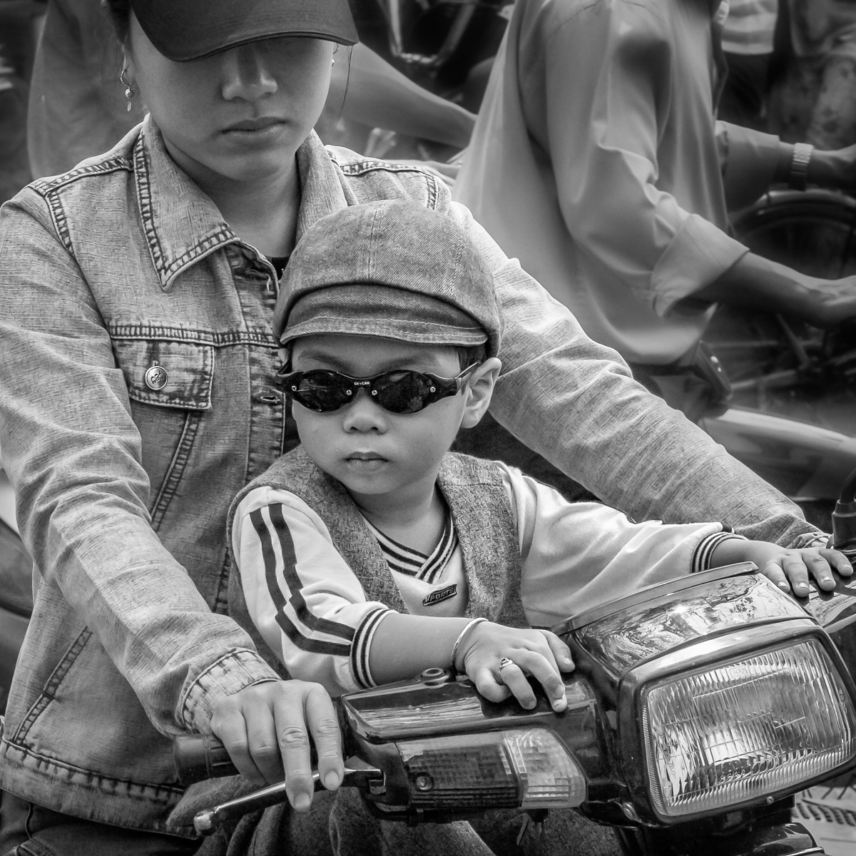 Boy & bike & shades(B&W)