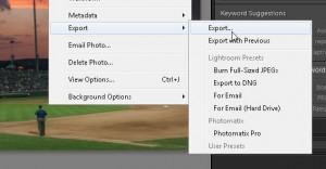 Lightroom Export Dialogue box