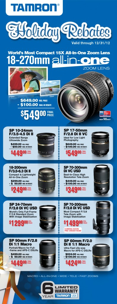 Tamron Rebates for the Holiday at Bergen County Camera