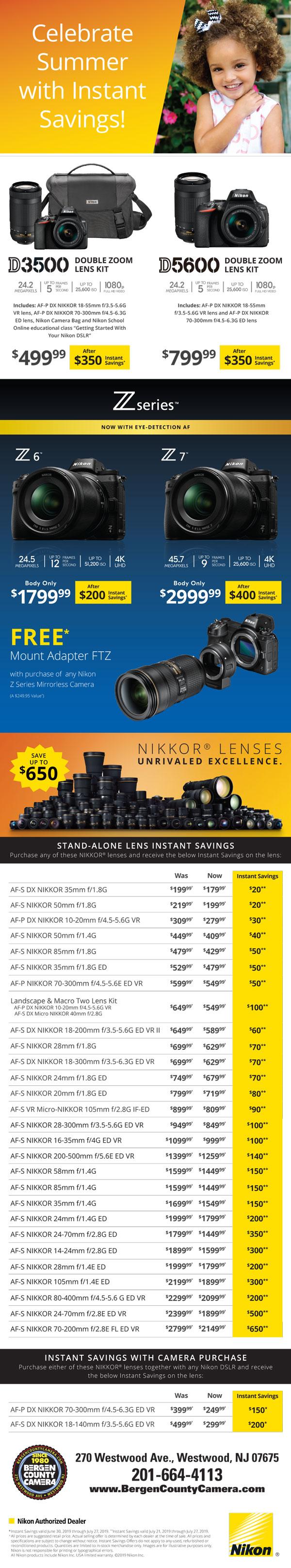 Nikon Camera and Lens rebates for July