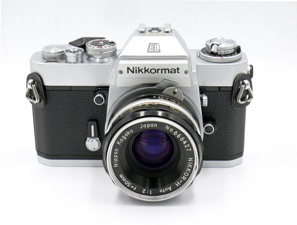 Nikkormat EL front view shown with 50mm f2 lens