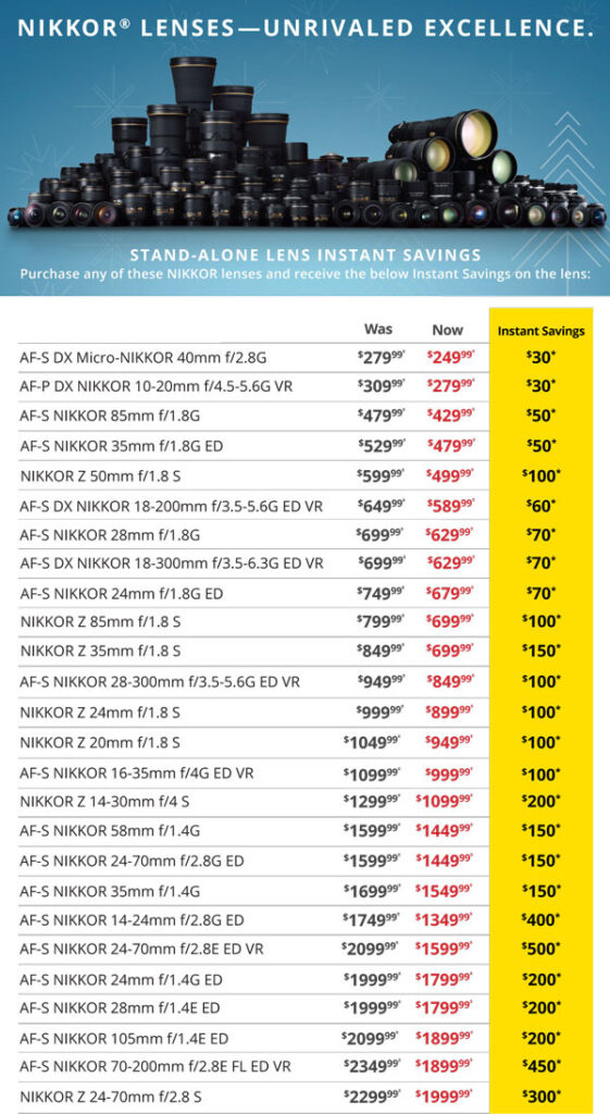 AF-S DX Micro-Nikkor 40mm f/2.8G was $279.99 now $249.99 instant savings $30 - AF-P DX Nikkor 10-20mm f/4.5-5.6G VR was $309.99 now $279.99 instant savings $30 - AF-S Nikkor 85mm f/1.8G was $479.99 now $429.99 instant savings $50 - AF-S Nikkor 35mm f/1.8G ED was $529.99 now $479.99 instant savings $50 - Nikkor Z 50mm f/1.8S was $599.99 now $499.99 instant savings $100 - AF-S DX Nikkor 18-200mm f/3.5-5.6G ED VR was $649.99 now $589.99 instant savings $60 - AF-S Nikkor 28mm f/1.8G was $699.99 now $629.99 instant savings $70 - AF-S DX Nikkor 18-300mm f/3.5-6.3G ED VR was $699.99 now $629.99 instant savings $70 - AF-S Nikkor 24mm f/1.8G ED was $749.99 now $679.99 instant savings $70 - Nikkor Z 85mm f/1.8 S was $799.99 now $699.99 instant savings $100 - Nikkor Z 35mm f/1.8 S was $849.99 now $699.99 instant savings $150 - AF-S Nikkor 28-300mm f/3.5- 5.6G ED VR was $949.99 now $849.99 instant savings $100 -  Nikkor  Z 24mm f/1.8 S was $999.99 now $899.99 instant savings $100 - Nikkor Z 20mm f/1.8S was $1049.99 now $949.99 instant savings $100 - AF-S Nikkor 16-35mm f/4G ED VR was $1099.99 now $999.99 instant savings $100 - Nikkor Z 14-30mm f/4 S was $1299.99 now $1099.99 instant savings $200 - AF-S Nikkor 58mm f/1.4 G was $1599.99 now $1449.99 instant savings $150 - AF-S Nikkor 24-70mm f/2.8G ED was $1599.99 now $1449.99 instant savings $150 - AF-S Nikkor 35mm f/1.4G was $1699.99 now $1549.99 instant savings $150 - AF-S Nikkor 14-24mm f/2.8G ED was $1749.99 now $1349.99 instant savings $400 - AF-S Nikkor 24-70mm f/2.8E ED VR was $2099.99 now $1599.99 instant savings $500 - AF-S Nikkor 24mm f/1.4E ED was $1999.99 now $1799.99 instant savings $200 - AF-S Nikkor 28mm f/1.4E ED was $1999.99 now $1799.99 instant savings $200 - AF-S Nikkor 105mm f/1.4E ED was $2099.99 now $1899.99 instant savings $200 - AF-S Nikkor 70-200mm f/2.8E FL ED VR was $2349.99 now $1899.99 instant savings $450 - Nikkor Z 24-70mm f/2.8 S was $2299.99 now $1999.99 instant savings $300