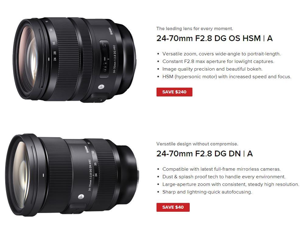 24-70mm F/2.8 DG OS HSM A - Save $240  24-70mm F/2.8 DG DN A - Save $40